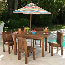 kidkraft outdoor espresso table stacking chairs w striped umbrella