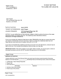 alaska 10 day notice to cure or vacate sample letter 30 day notice to vacate