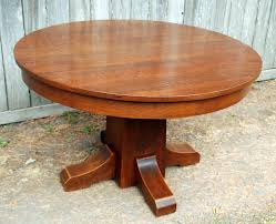 original l j g stickley 42 inch dining table with 4 leaves signed