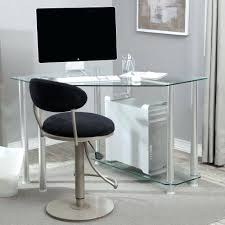 clear glass computer desk with shelves tempered corner