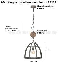 Landelijke Hanglamp Zwart Met Hout ø 47 Cm Kopen
