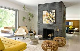 stone fireplace decorating ideas decorative owl sculpt yellow sofa bed round glass top coffee table wicker