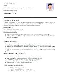 For Bsc Zoology 3 Resume Format Job Resume Teaching