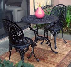 black wrought iron furniture. Black Wrought Iron Patio Furniture With 2 Person Chairs And Bamboo Carpet Material Wayne Home Decor