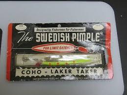 Swedish Pimple Color Chart Vintage Bay De Noc Lure Co Swedish Pimple Coho Laker Taker