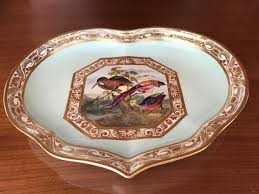 porcelain heart shaped plate hand decorated royal crown derby
