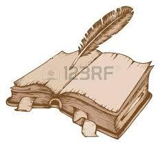 imagenes de libro dibujo de libro abierto con la ilustración de plumas