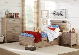 Montana Driftwood 4 Pc Twin Panel Bedroom - Teen Bedroom Sets Light Wood