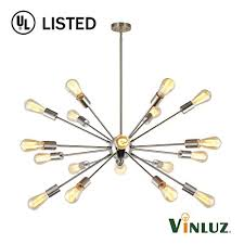 vinluz sputnik chandelier brushed nickel 18 lights modern pendant lighting large industrial ceiling light fixture ul listed wantitall