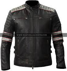 retro biker vintage distressed motorcycle stripes sheepskin black leather jacket
