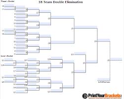 Fillable 18 Man Seeded Double Elimination Customizable Bracket