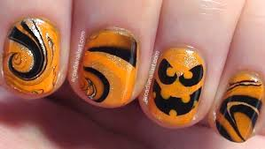 ArcadiaNailArt: Easy Halloween Pumpkin Water Marble Nail Art on ...