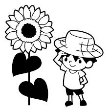 ひまわりと麦わら帽子をかぶった男の子のイラスト 無料イラスト素材