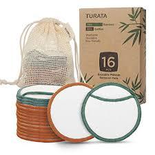 Makeup Remover <b>Pads</b>, TURATA <b>16Pcs Reusable</b> Bamboo <b>Cotton</b> ...