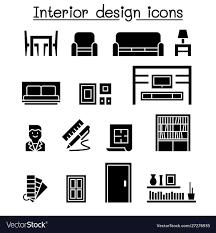 Icon For Interior Design Interior Decoration Furniture Icon Set