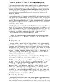 To Kill A Mockingbird Character Analysis Chart Character Analysis Of Scout In To Kill A Mockingbird
