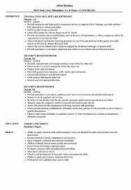 Security Resume Sample Receptionist Resume Sample Skills Awesome Security Receptionist 89