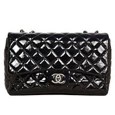 chanel quilted black patent leather large jumbo classic flap bag for