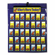 Whos Here Today Chart Carson Attendance Multiuse Chart 35 Pockets Two Sided Cards Blue Cdpcd5644