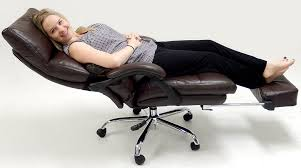 Office reclining chair Electric Amazoncom Pillow Top Leather Office Recliner Wfootrest