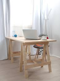 wood home office desks. Simple Small Home Office Furniture Decoration With DIY Wood Trestle Desk Leg Fabric Accent Chair And Glass Window White Curtains Ideas Desks T