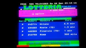 Premi di prima categoria Lotteria Italia 2017 su Televideo Rai