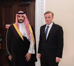 """Khalid bin Salman خالد بن سلمان on Twitter: """"Met with @JakeSullivan46 to  review the mutual coordination between our two countries within the  framework of our historic partnership, and discuss regional and  international"""