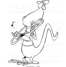 Small Picture Vector of a Cartoon Lizard Playing a Trombone Coloring Page