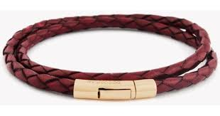 tateossian double wrap scoubidou red leather bracelet with 18k rose gold clasp in red for men lyst