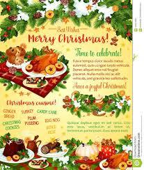 christmas dinner poster christmas dinner celebration vector greeting card stock vector