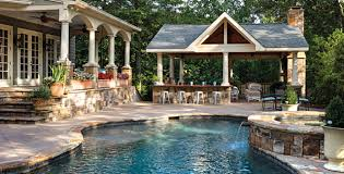 backyard designs with pool and outdoor kitchen. Delighful Outdoor Backyard Designs With Pool And Outdoor Kitchen Plan Your Lawn Garden Spa  This Throughout M