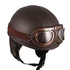 com leather brown motorcycle goggles vintage garman style half helmets motorcycle biker cruiser scooter touring helmet automotive