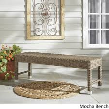 cushioned coffee table. Shop Barbados Wicker 55-inch Patio Cushioned Coffee Table Bench INSPIRE Q Oasis - On Sale Free Shipping Today Overstock.com 12710167 E