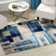 incredible geometric area rug ebern designs sawyer light blue reviews wayfair