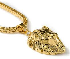 images gallery mens 18k gold plated lion head pendant necklace