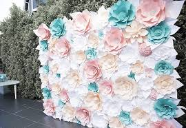 Paper Flower Wall Rental Pink Peach Tiffany Blue And White Paper Flower Wall 15