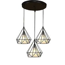 jinguo lighting industrial pendant light chandelier 3 lights hanging lamp ceiling fixture in fabric and wire style with diamond shape shade for kitchen