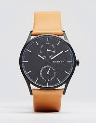 skagen holst quartz leather watch in tan 40mm