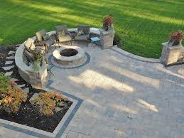 paver fire pit design with curved seating wall cleveland