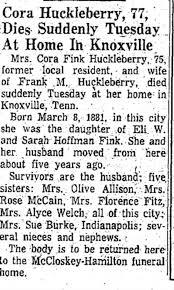 Obituary for Cora Fink Huckleberry (Aged 75) - Newspapers.com