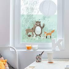 Fenster Wandbild Forest Friends Mit Wald Tiere Blau Fenster