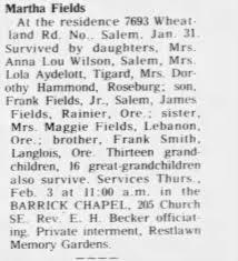 Obituary for Martha Fields - Newspapers.com