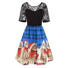 Amazon Com Womens Christmas Dress Lace Christmas Cat