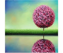 textured palette knife painting original oil painting on canvas pastel abstract art pink tree painting modern contemporary wall art 8x8