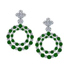 sasha primak double circle diamond and emerald chandelier earrings