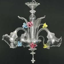 Lampadario Murano Rosa : Lampadario murano luci cristallo fiori in pasta