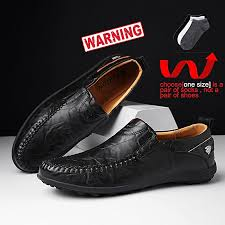 men pu leather shoes moccasins non slip loafers black