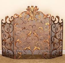 french ornate acanthus leaf antique gold iron fireplace screen 46 5 x 32 25 h