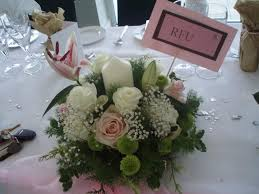 small round pink white table centrepiece with church candle