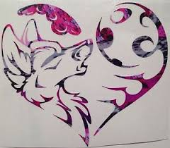tribal wolf and moon drawing.  And Image Is Loading CHOOSECOLORTribalWolfMoonHeartTruckVinyl For Tribal Wolf And Moon Drawing S